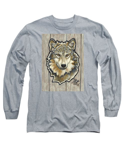 Long Sleeve T-Shirt featuring the painting Young Wolf by VLee Watson
