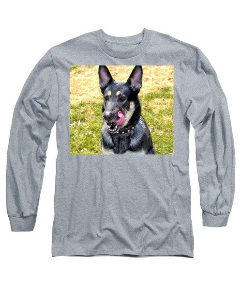 Long Sleeve T-Shirt featuring the photograph German Shepherd - Yum - Luther Fine Art by Luther Fine Art