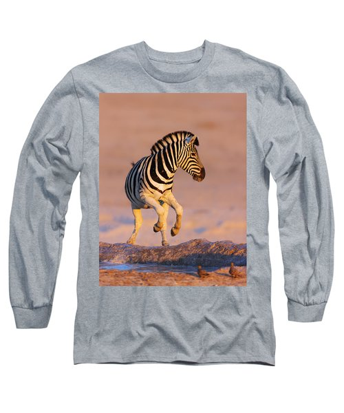 Zebras Jump From Waterhole Long Sleeve T-Shirt