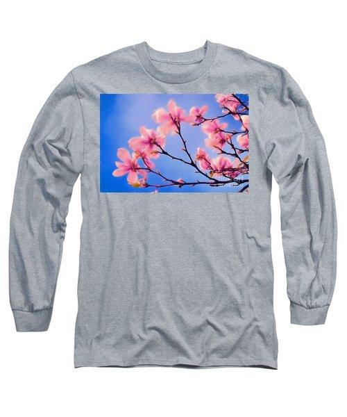 Cherry Blossums In Digital Watercolor Long Sleeve T-Shirt
