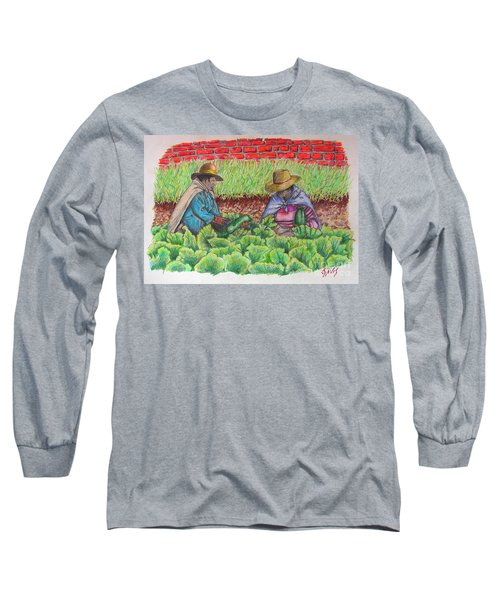 Long Sleeve T-Shirt featuring the drawing Zucchini In Peru by Lew Davis
