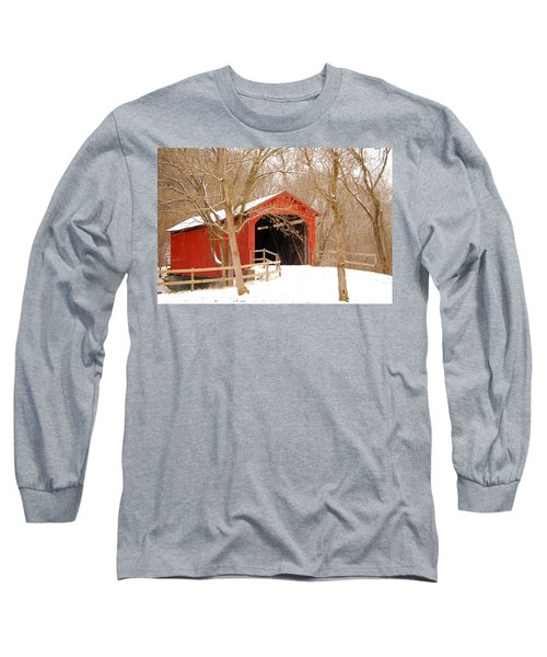 Long Sleeve T-Shirt featuring the photograph  Sandy Creek Cover Bridge  by Peggy Franz