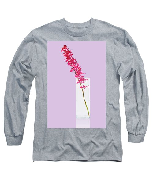 Red Orchid Bunch Long Sleeve T-Shirt by Atiketta Sangasaeng
