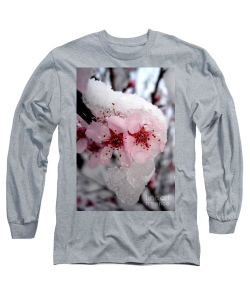 Long Sleeve T-Shirt featuring the photograph Spring Blossom Icicle by Kerri Mortenson