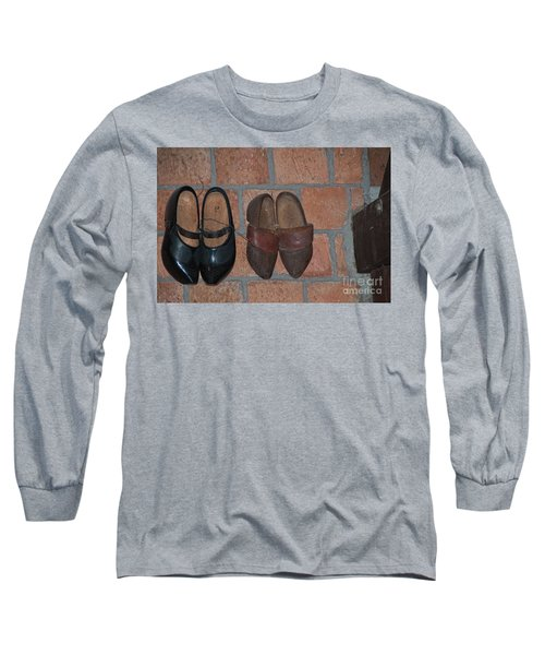 Long Sleeve T-Shirt featuring the digital art Old Wooden Shoes by Carol Ailles