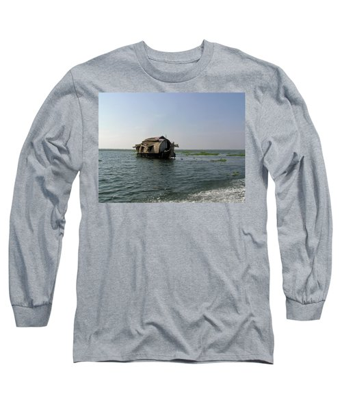 Long Sleeve T-Shirt featuring the photograph A Houseboat Moving Placidly Through A Coastal Lagoon In Alleppey by Ashish Agarwal