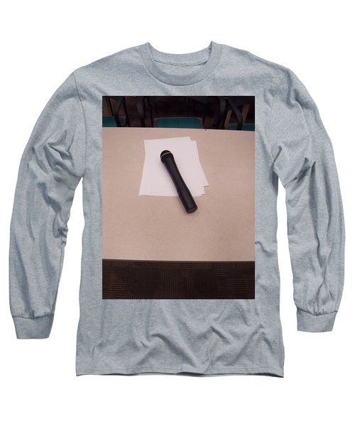 Long Sleeve T-Shirt featuring the photograph A Microphone On The Lectern Of A Presentation Room by Ashish Agarwal