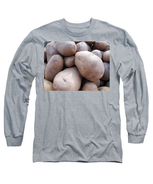 Long Sleeve T-Shirt featuring the photograph A Pile Of Large Lumpy Raw Potatoes by Ashish Agarwal