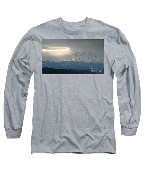 Long Sleeve T-Shirt featuring the photograph A Ring Of Bright Light Beside Mount Rainier by Sean Griffin