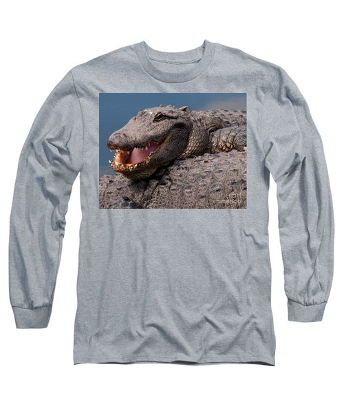 Long Sleeve T-Shirt featuring the photograph Alligator Smile by Art Whitton