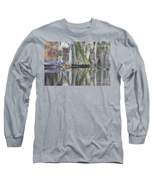 Long Sleeve T-Shirt featuring the photograph Alligator Waiting For Dinner by Dan Friend