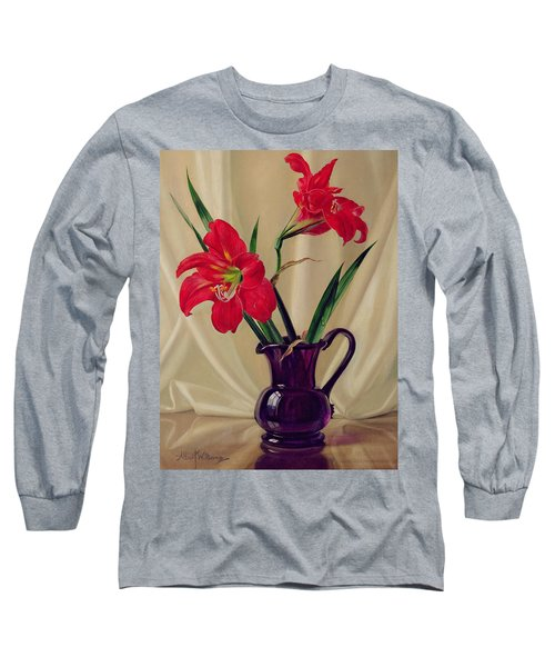 Amaryllis Lillies In A Dark Glass Jug Long Sleeve T-Shirt