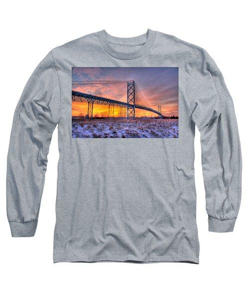 Ambassador Bridge Sunrise 1-16-2012  Detroit Mi Long Sleeve T-Shirt