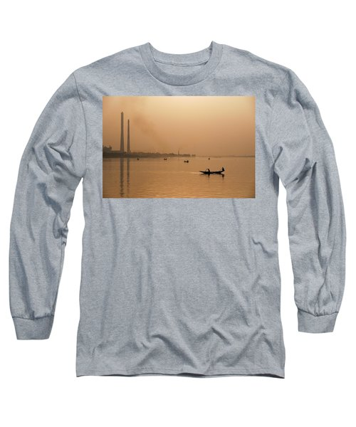 Long Sleeve T-Shirt featuring the photograph An Industrial Sunset by Fotosas Photography