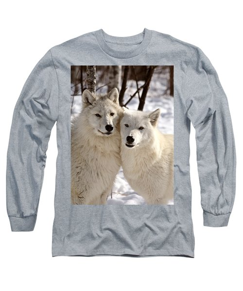 Arctic Wolves Close Together In Winter Long Sleeve T-Shirt