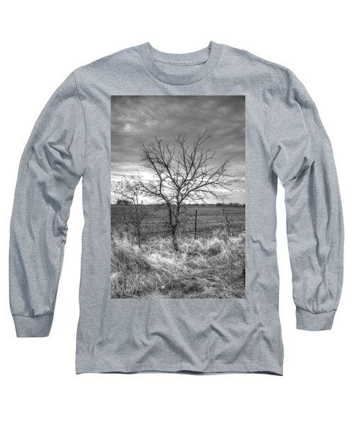B/w Tree In The Country Long Sleeve T-Shirt