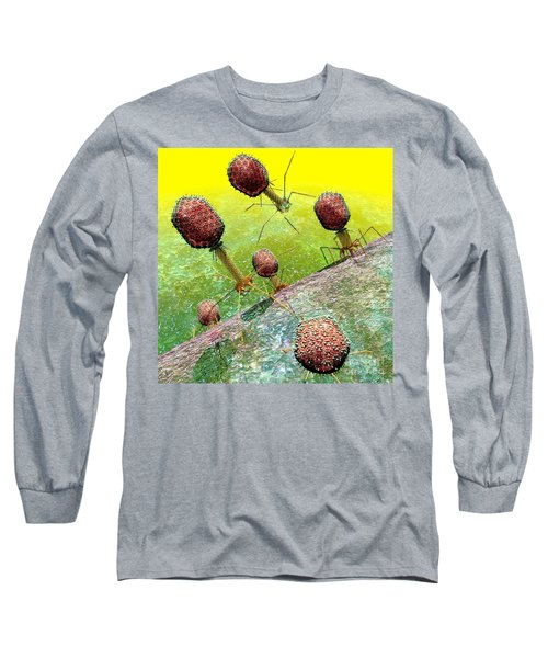 Bacteriophage T4 Virus Group 2 Long Sleeve T-Shirt by Russell Kightley