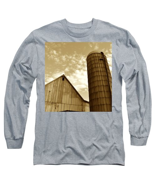 Barn And Silo In Sepia Long Sleeve T-Shirt by JD Grimes