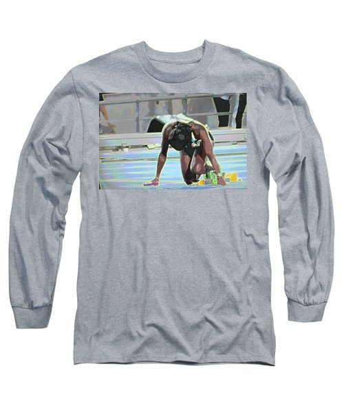Long Sleeve T-Shirt featuring the mixed media Baton by Terence Morrissey