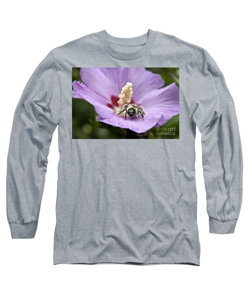 Long Sleeve T-Shirt featuring the photograph Bee Covered In Pollen  by Jeannette Hunt