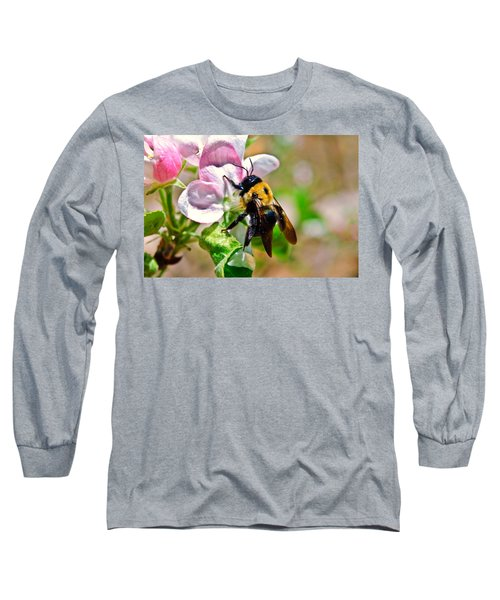Long Sleeve T-Shirt featuring the photograph Bee On An Apple Blossom by Susan Leggett