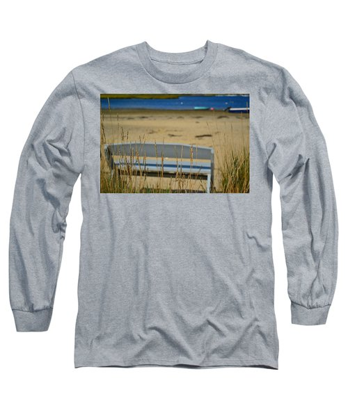 Bench On The Beach Long Sleeve T-Shirt by Bonnie Myszka