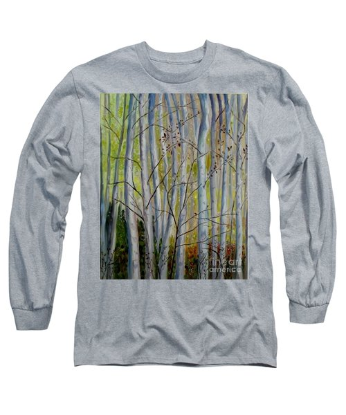 Long Sleeve T-Shirt featuring the painting Birch Forest by Julie Brugh Riffey