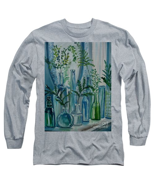 Long Sleeve T-Shirt featuring the painting Bottle Brigade by Julie Brugh Riffey