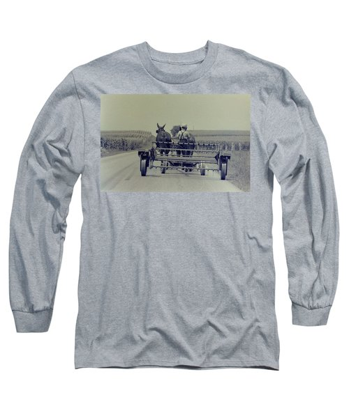 Long Sleeve T-Shirt featuring the photograph Boy Heads To Work by Mike Martin