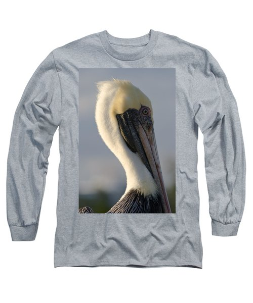 Brown Pelican Profile Long Sleeve T-Shirt