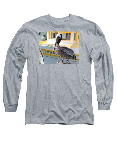 Brown Pelican Long Sleeve T-Shirt