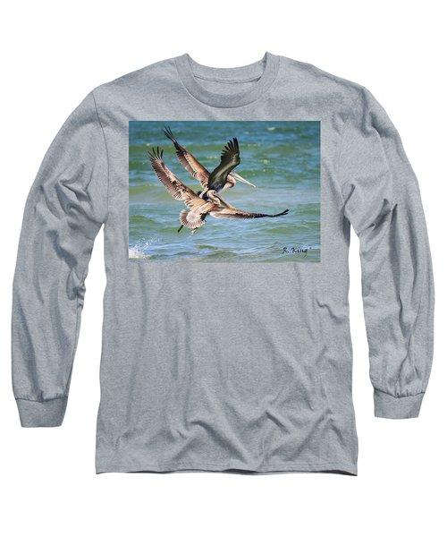 Brown Pelicans Taking Flight Long Sleeve T-Shirt