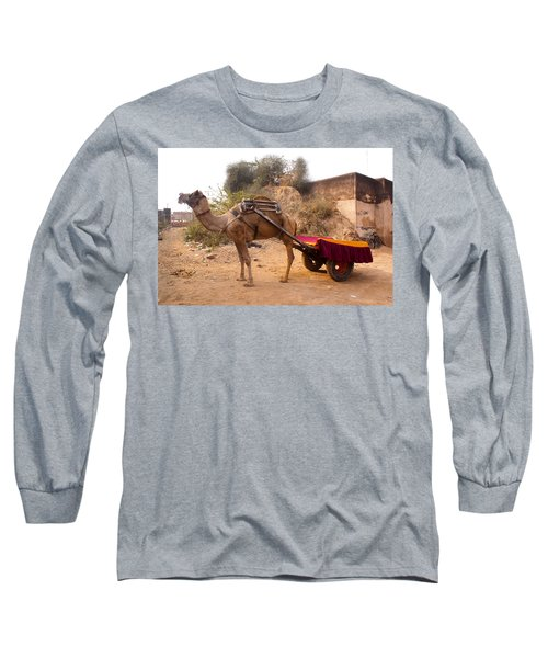 Long Sleeve T-Shirt featuring the photograph Camel Yoked To A Decorated Cart Meant For Carrying Passengers In India by Ashish Agarwal