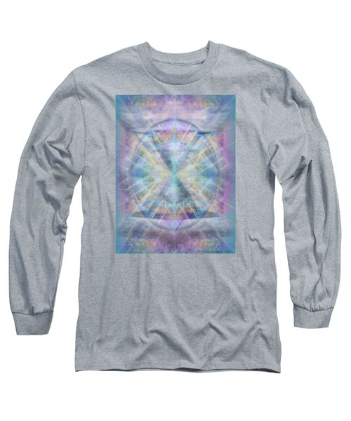 Chalice Of Vorticspheres Of Color Shining Forth Over Tapestry Long Sleeve T-Shirt