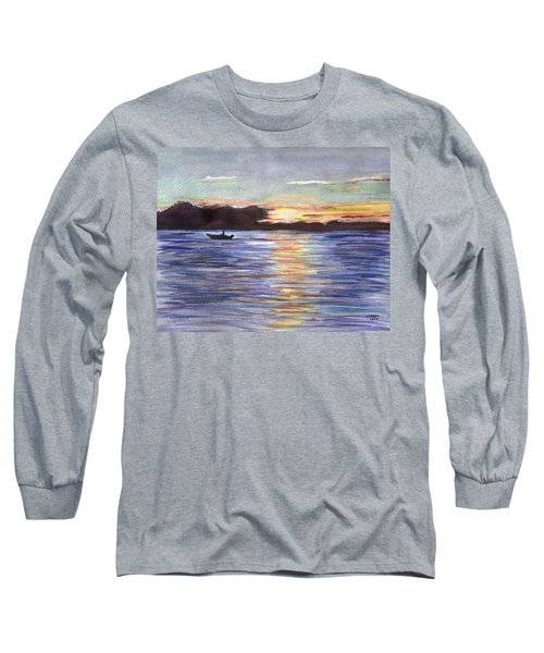 Long Sleeve T-Shirt featuring the painting Chesapeake Dusk Boat Ride by Clara Sue Beym