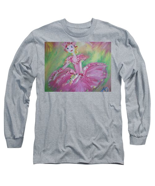 Christmas Ballerina Long Sleeve T-Shirt by Judith Desrosiers