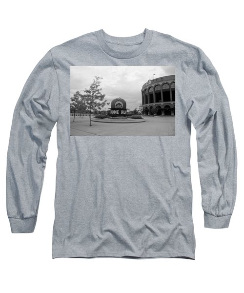 Citi Field In Black And White Long Sleeve T-Shirt