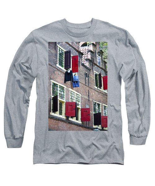 Clothes Hanging From A Window In Kattengat Long Sleeve T-Shirt