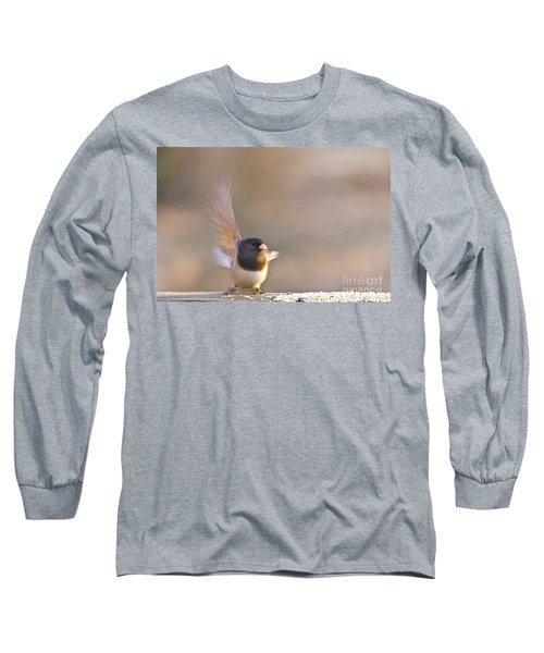 Long Sleeve T-Shirt featuring the photograph Dark-eyed Junco Taking Flight by Sean Griffin