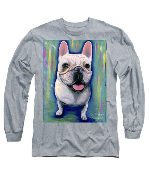 Long Sleeve T-Shirt featuring the painting Dino The French Bulldog by Ania M Milo