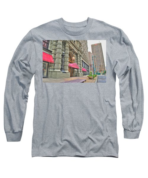 Long Sleeve T-Shirt featuring the photograph Ellicott Square Building And Hsbc by Michael Frank Jr