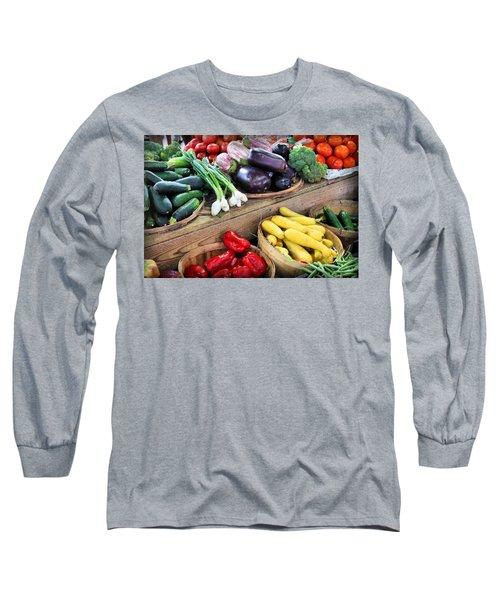 Farmers Market Summer Bounty Long Sleeve T-Shirt by Kristin Elmquist