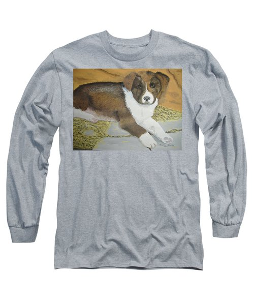 Long Sleeve T-Shirt featuring the painting Fat Puppy by Norm Starks