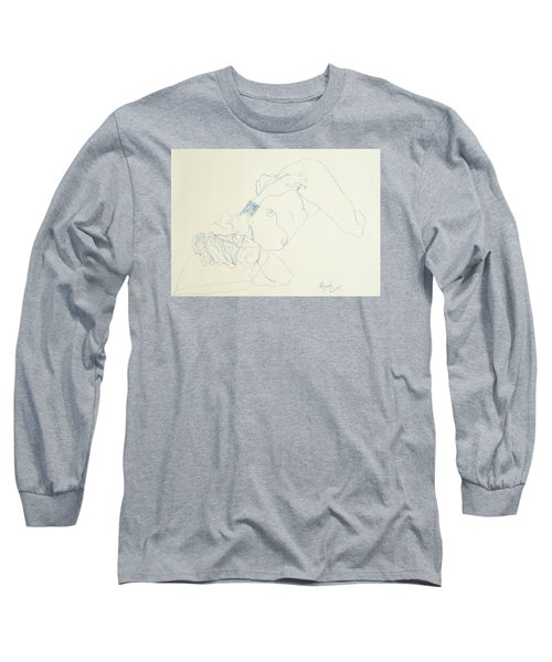 Female Nude In Blue Long Sleeve T-Shirt by Rand Swift