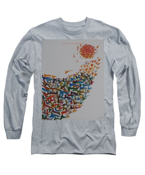 Long Sleeve T-Shirt featuring the painting Fleet Of Birds by Sonali Gangane