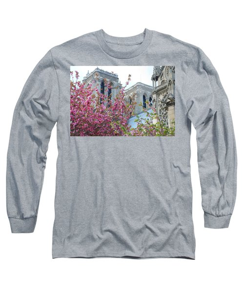 Long Sleeve T-Shirt featuring the photograph Flowering Notre Dame by Jennifer Ancker