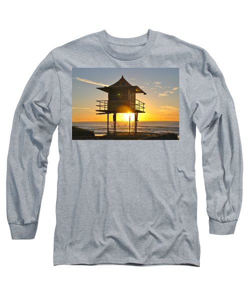 Long Sleeve T-Shirt featuring the photograph Gold Coast Life Guard Tower by Eric Tressler