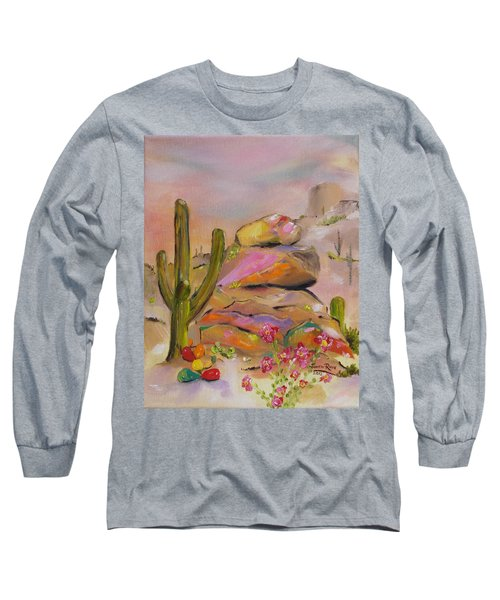 Long Sleeve T-Shirt featuring the painting Gold-lined Rocks by Judith Rhue