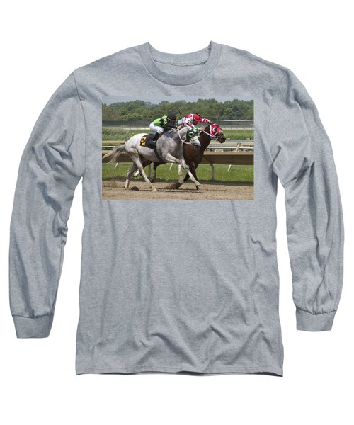 Long Sleeve T-Shirt featuring the photograph Gray Vs Bay by Alice Gipson