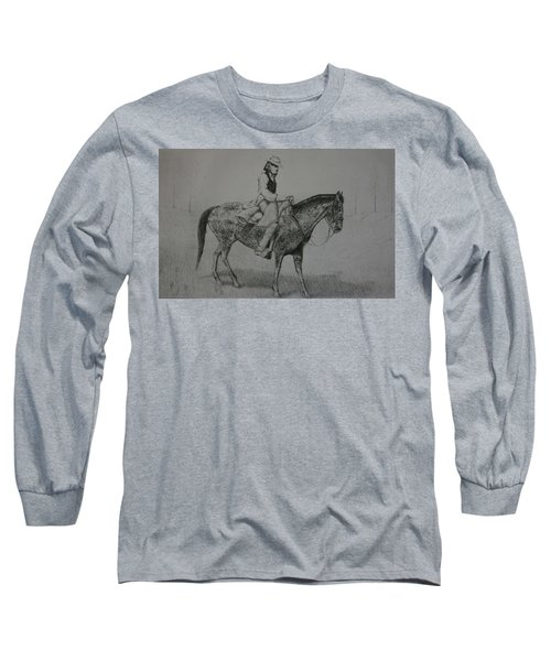 Long Sleeve T-Shirt featuring the drawing Horseman by Stacy C Bottoms